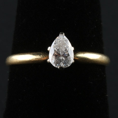 18K Yellow Gold Ring with Pear Cut Solitaire Diamond