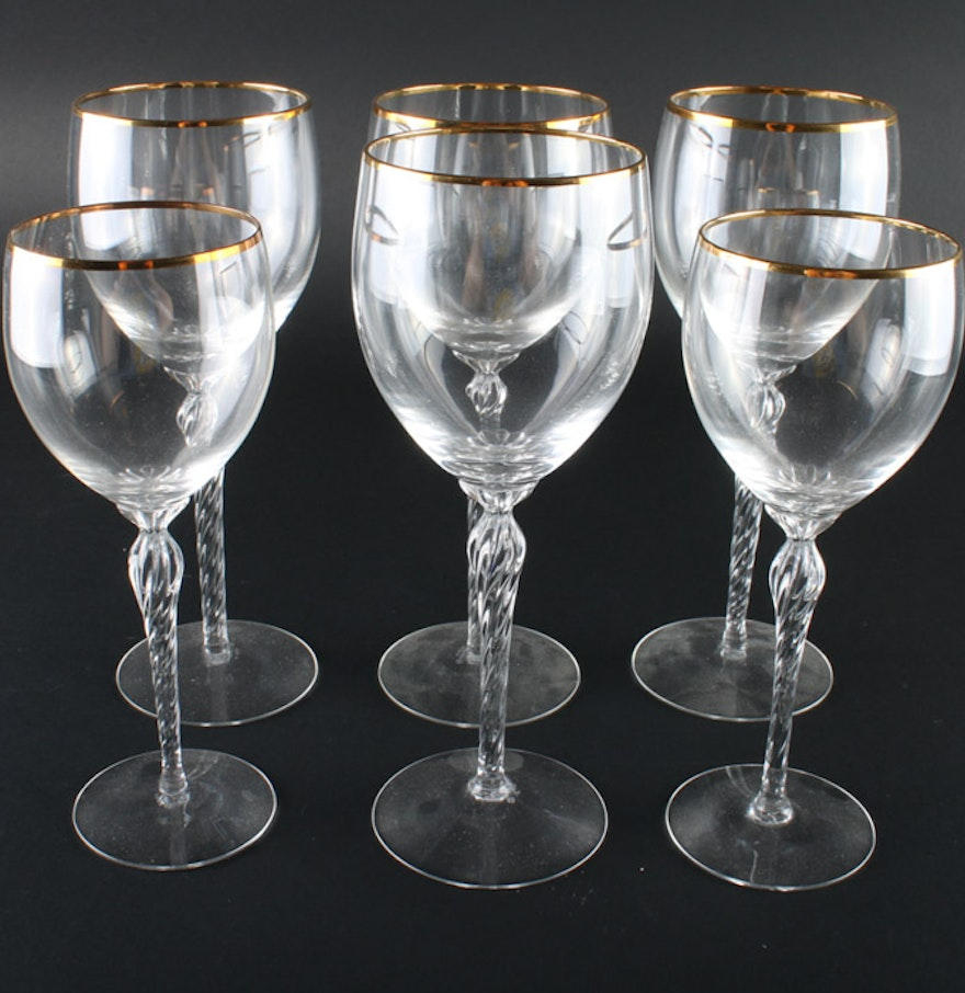 Lenox monroe crystal stemware with gold trim ebth - Lenox gold rimmed wine glasses ...