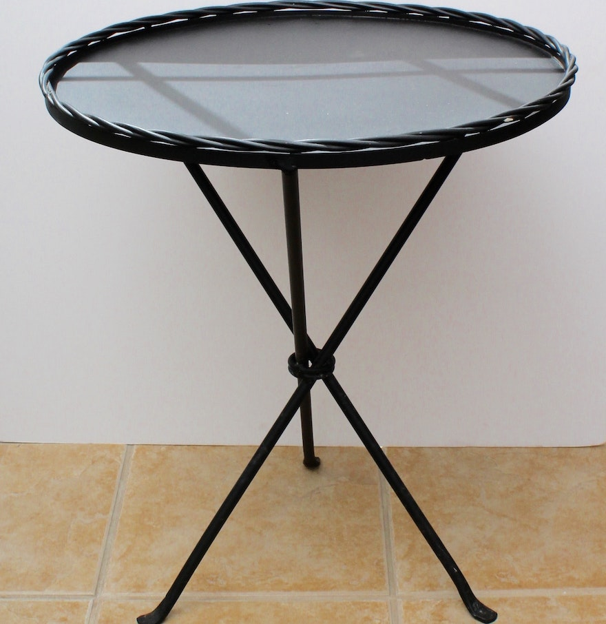 Mexican made wrought iron side table ebth for Wrought iron side table