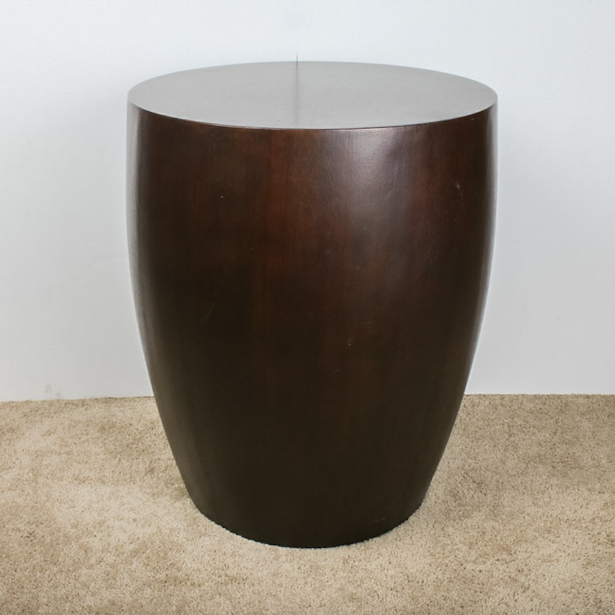 Solid Wood Drum Shaped End Table