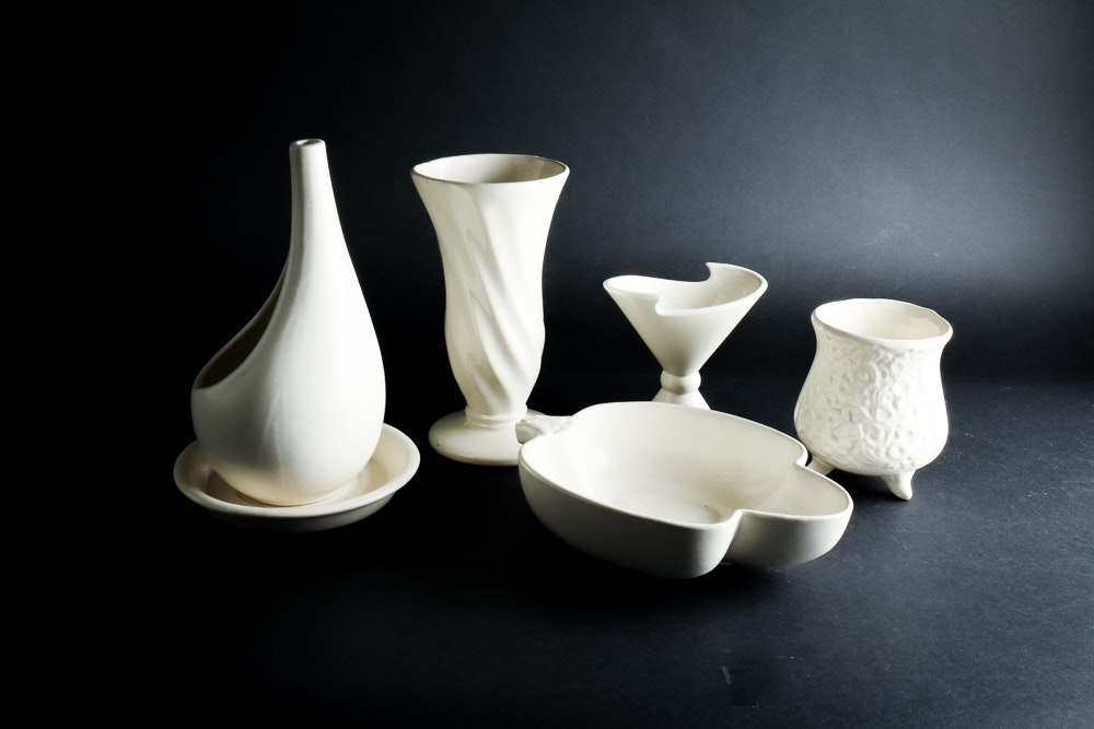 White Hull Pottery Vases and Dishes