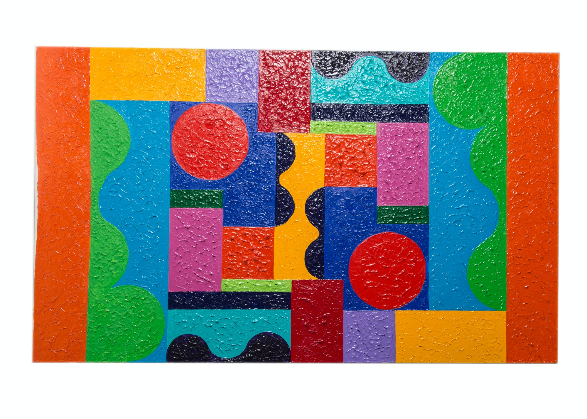 Geometric Abstraction Oil Painting on Canvas