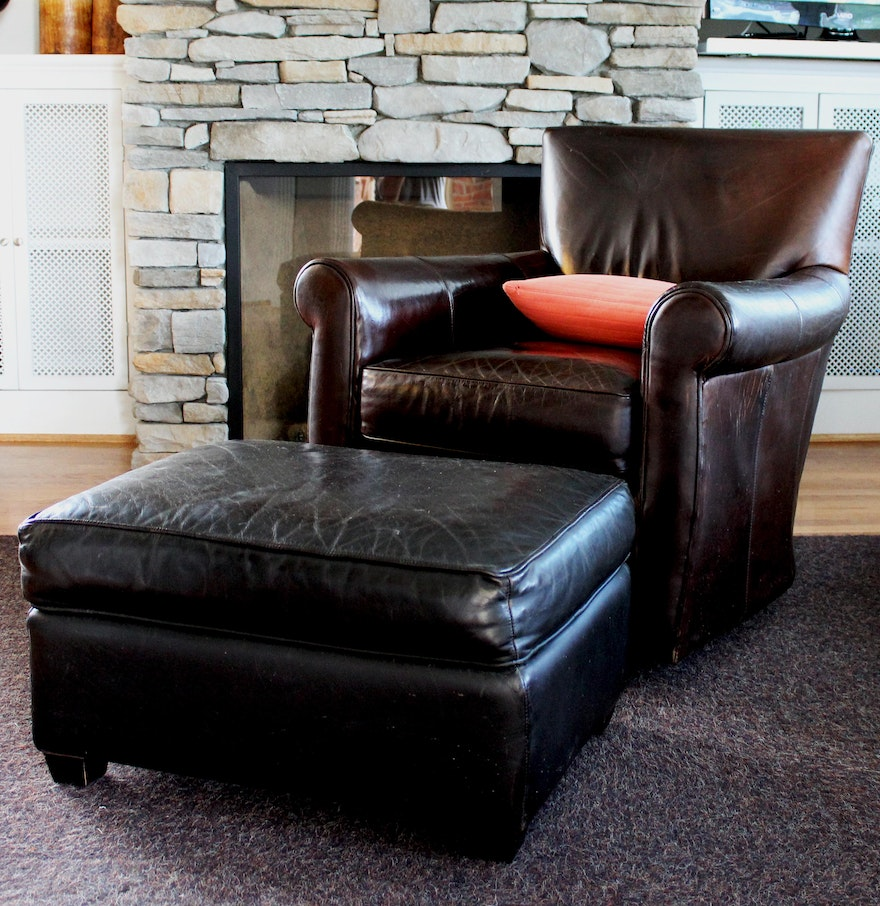 Arhaus Quot Camden Collection Quot Leather Club Chair And Ottoman