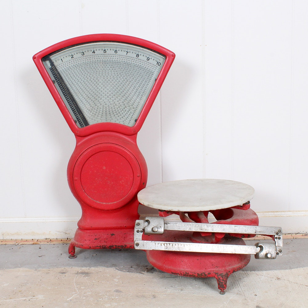 Antique Red Cast Iron Stimpson Computing Scale Co. Scale