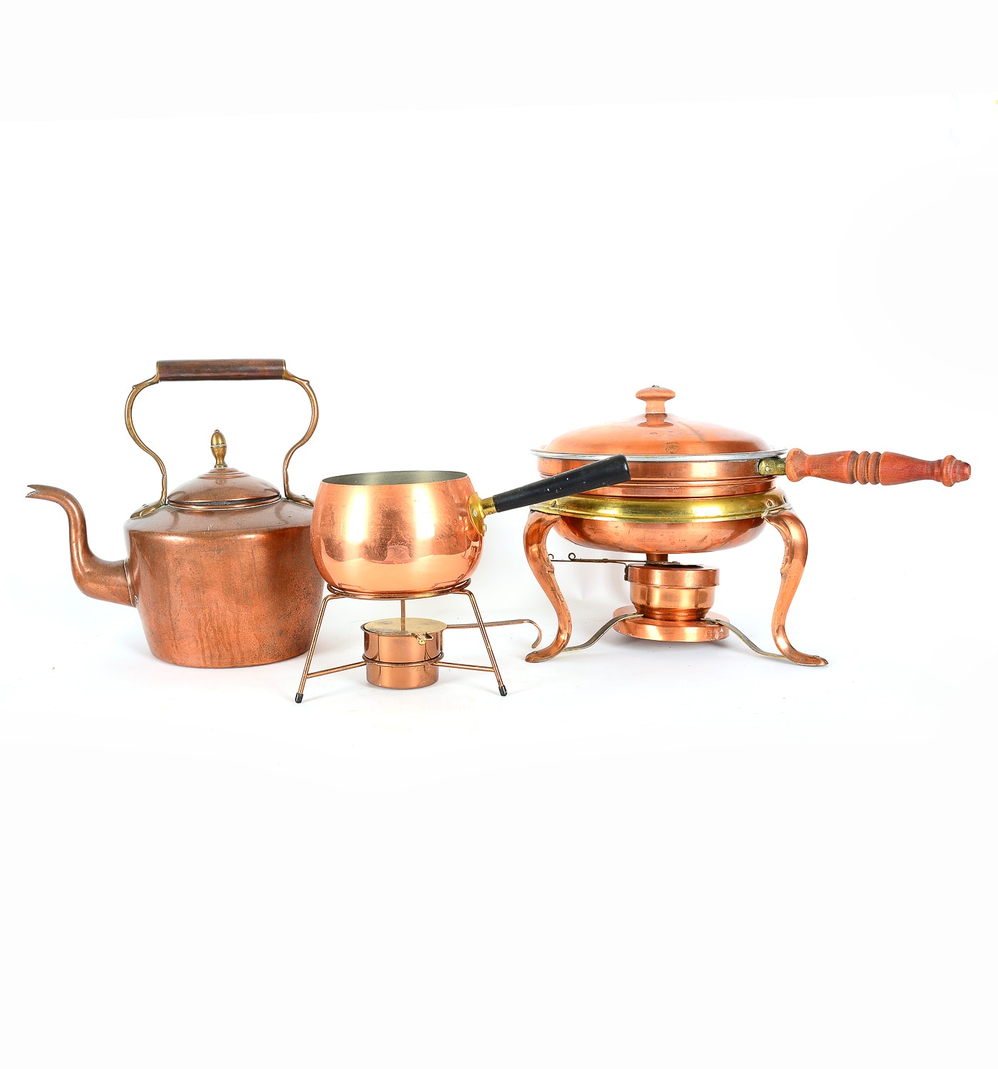 Trio of Copper Plated Pots