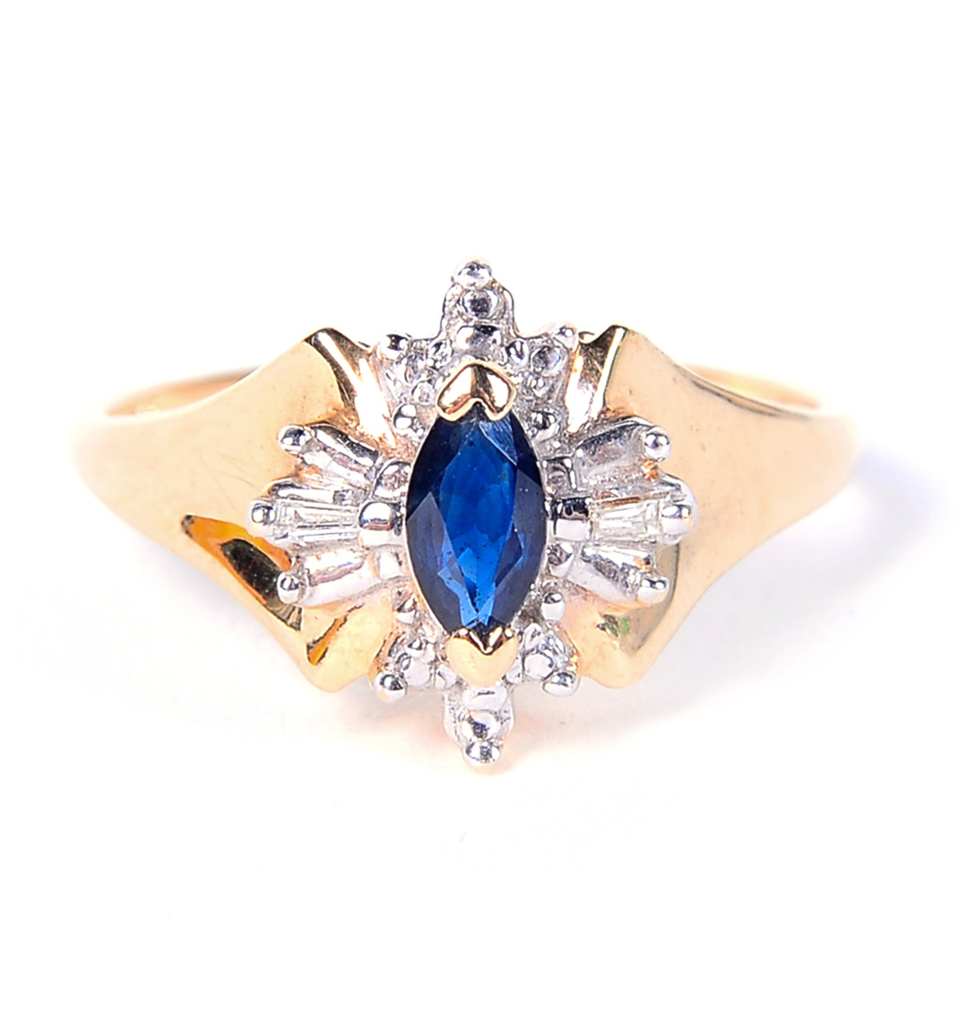 14K Yellow Gold, Sapphire and Diamond Ring