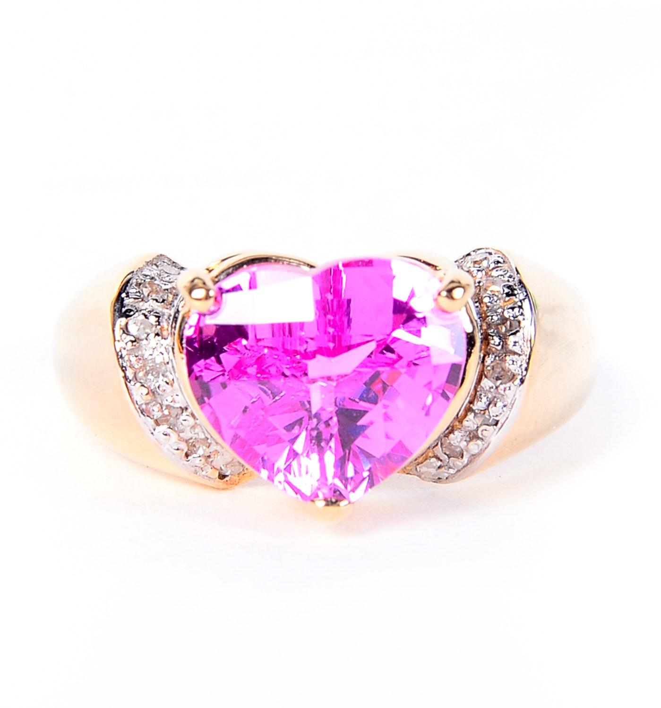 14K Yellow Gold, Sapphire and Diamond Ring