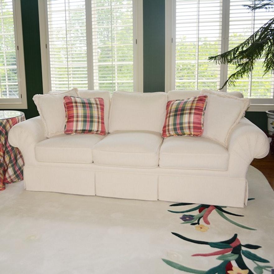 Henredon Sofa and Round Side Table with Matching Plaid Skirt : EBTH