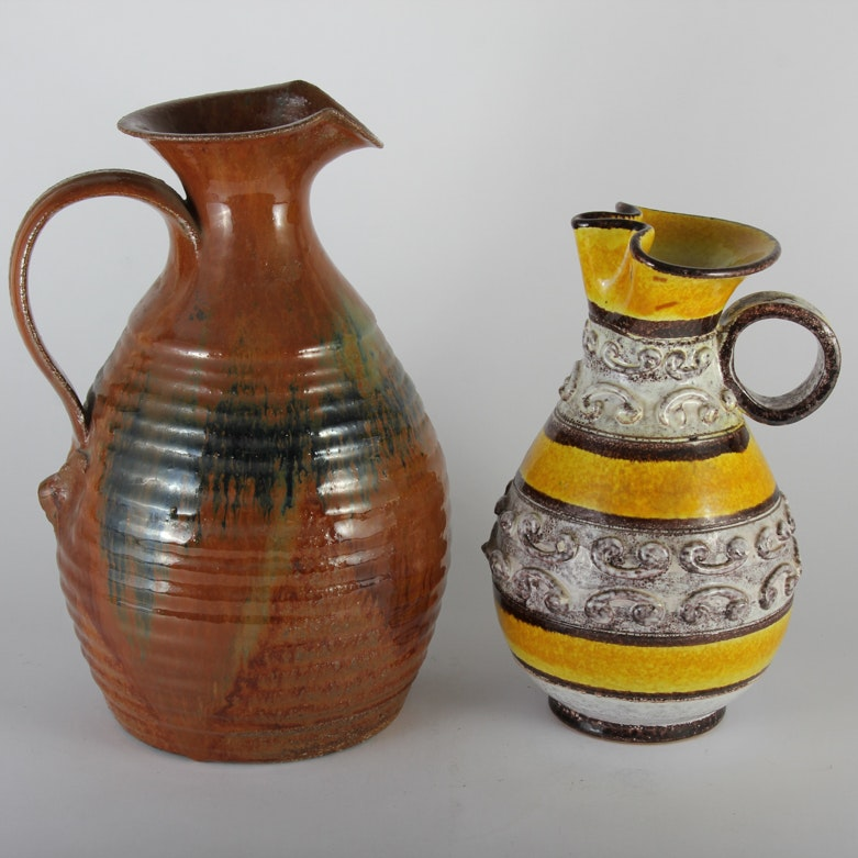 Pair of Pottery Pitchers
