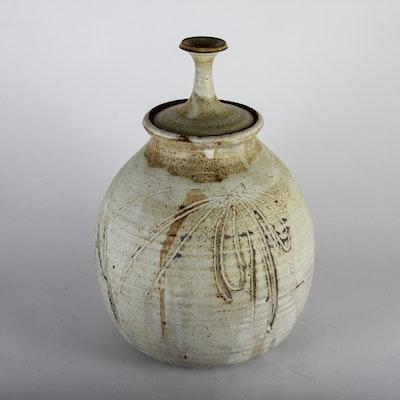 Signed Lidded Art Pottery Jar