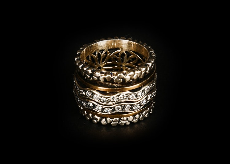 14K Gold and Sterling Silver Ring Stack