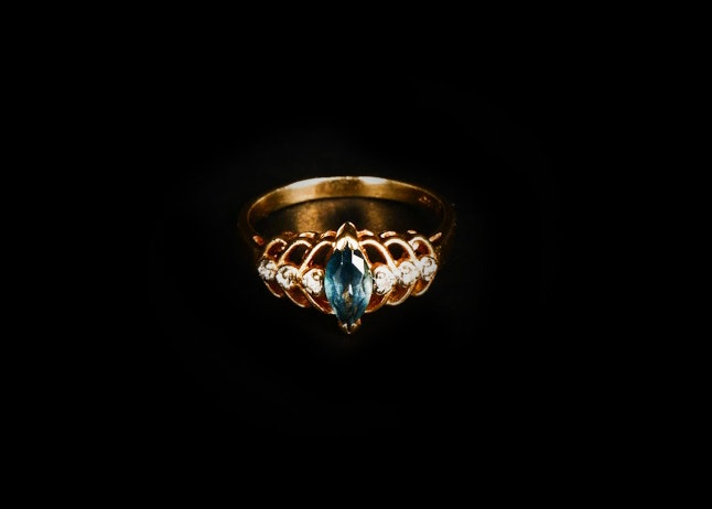 14K Yellow Gold, Diamond and Blue Topaz Ring