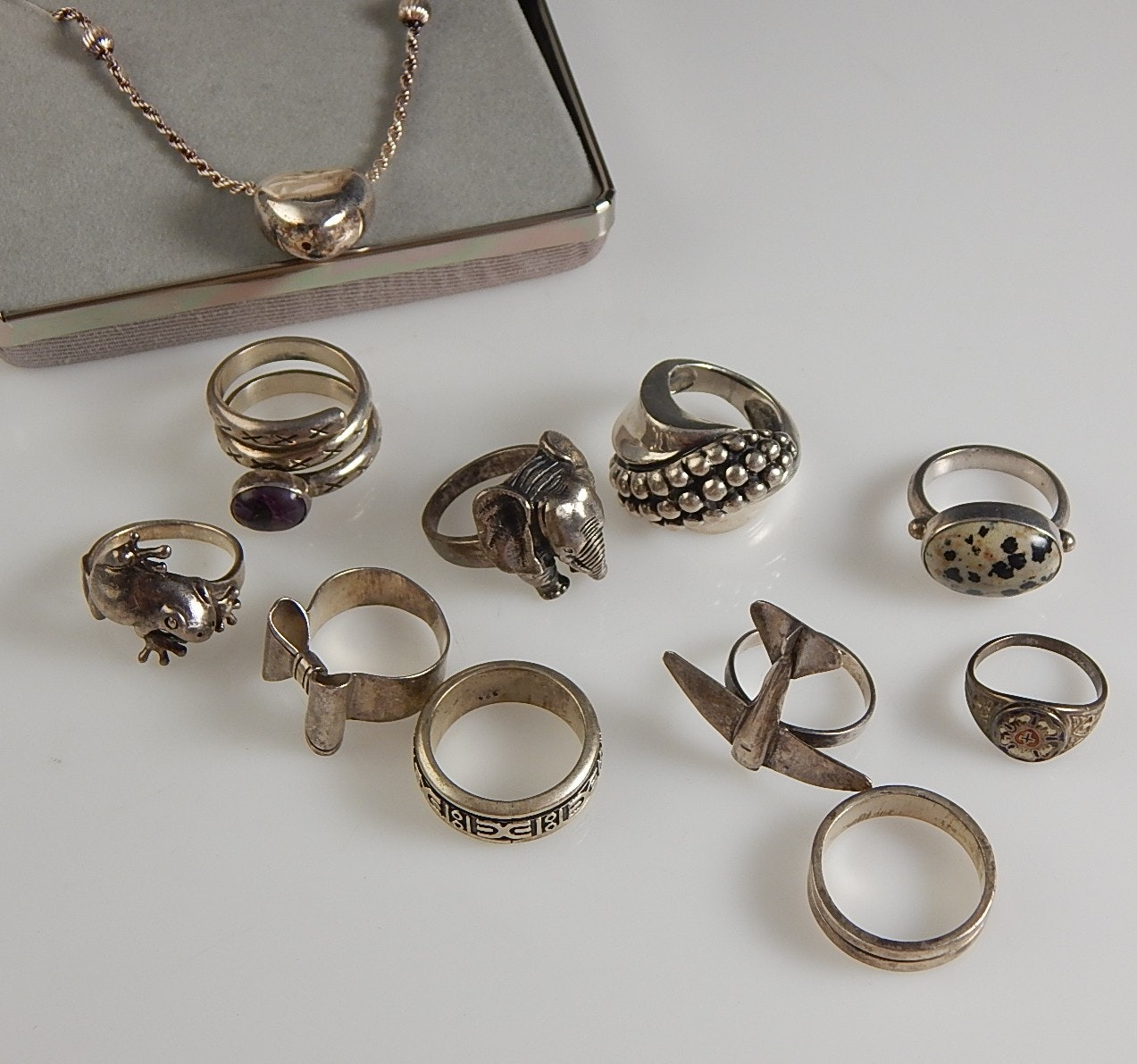 Sterling Silver Rings and Heart Necklace