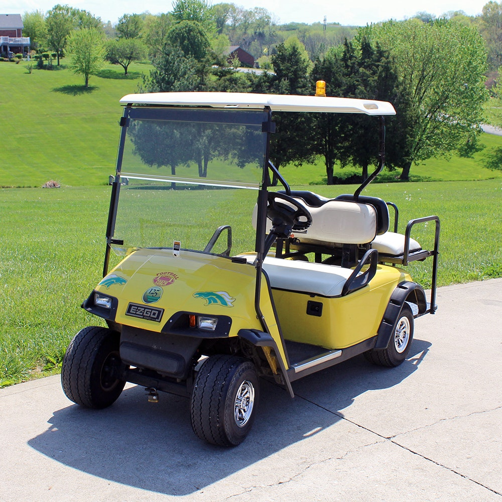 E-Z-GO Electric Utility Golf Cart in Bright Yellow
