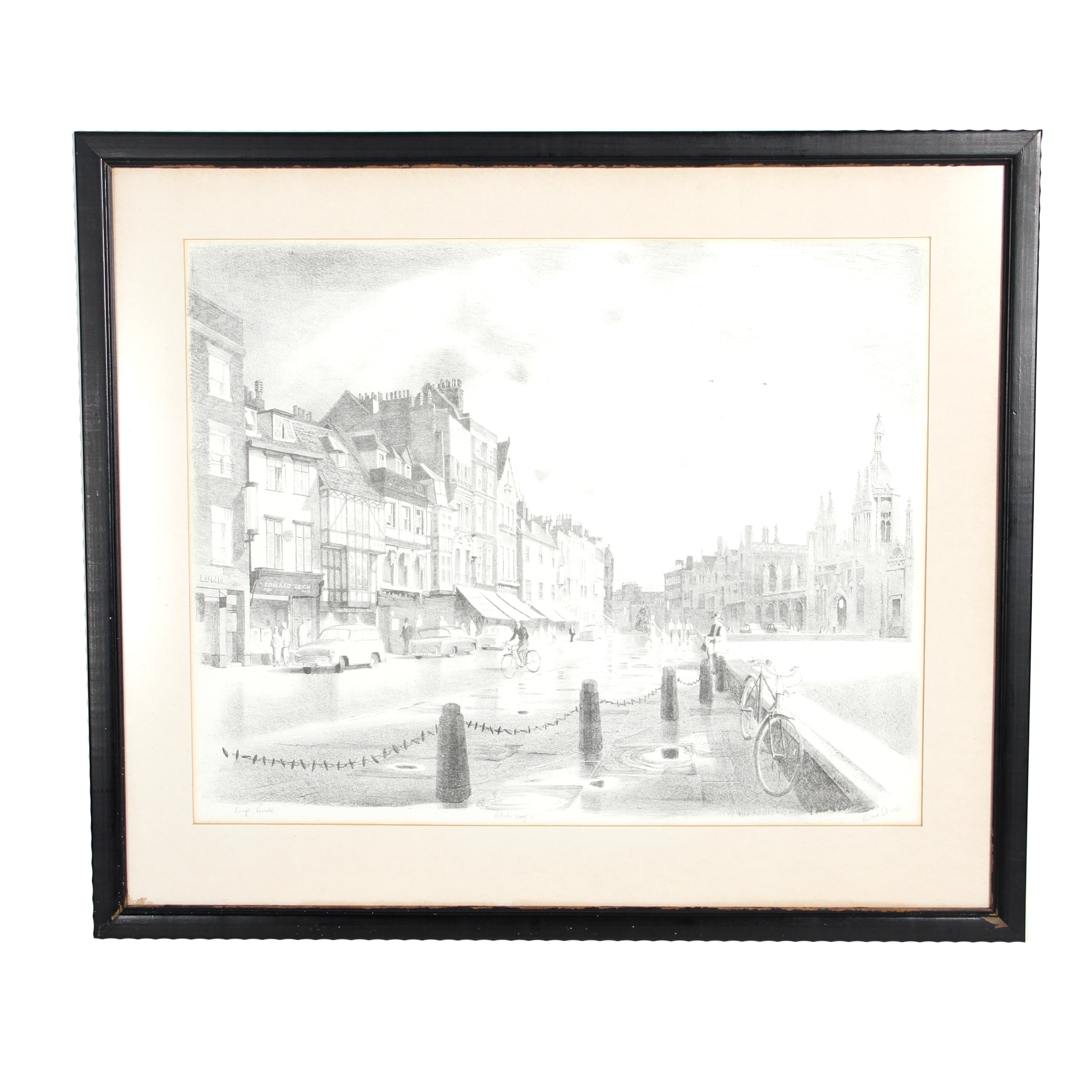"Original Pencil Signed Lithograph ""King's Parade"" by Richard Sell"