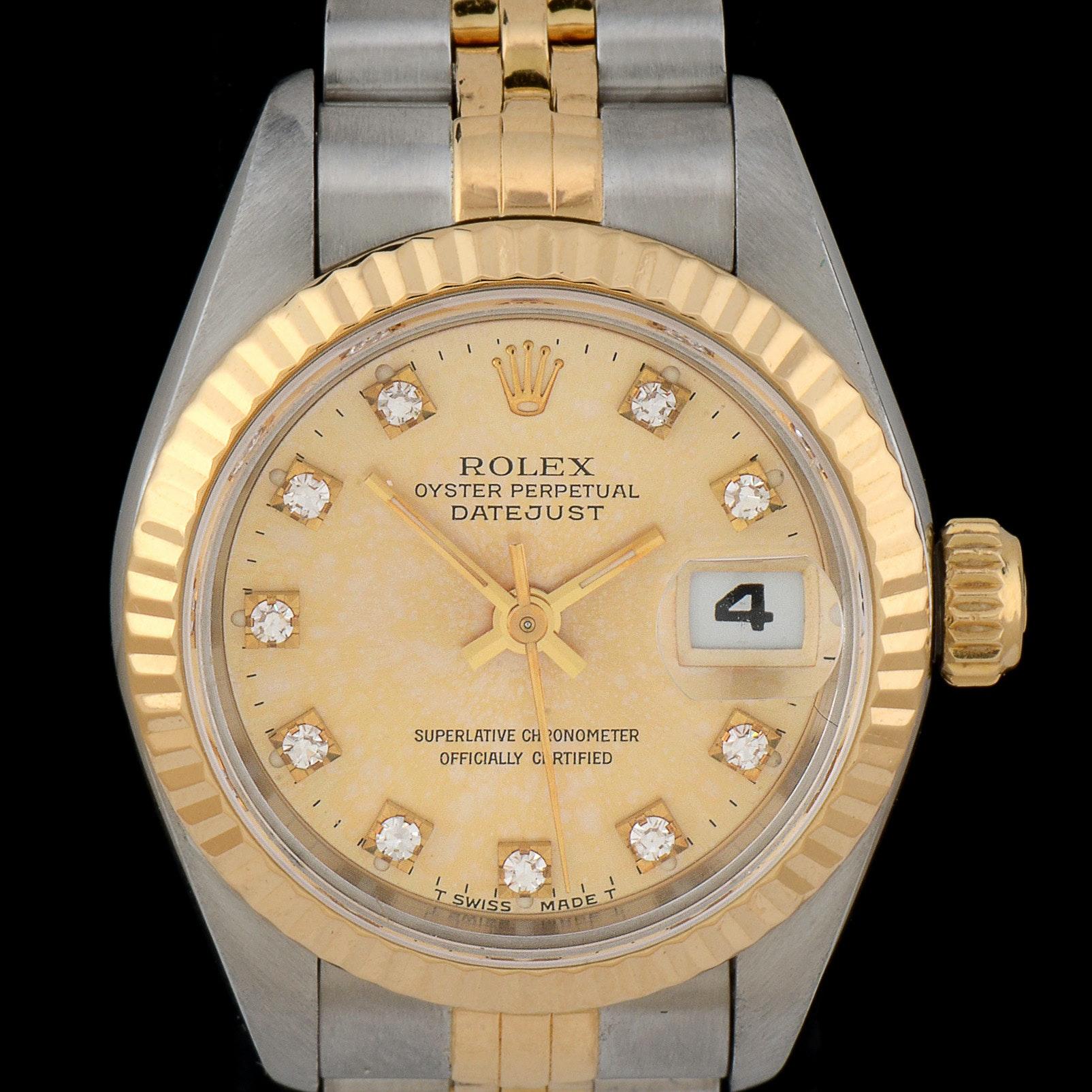 Women's Rolex Datejust 18k Gold and Steel Champagne Diamond Dial Wristwatch