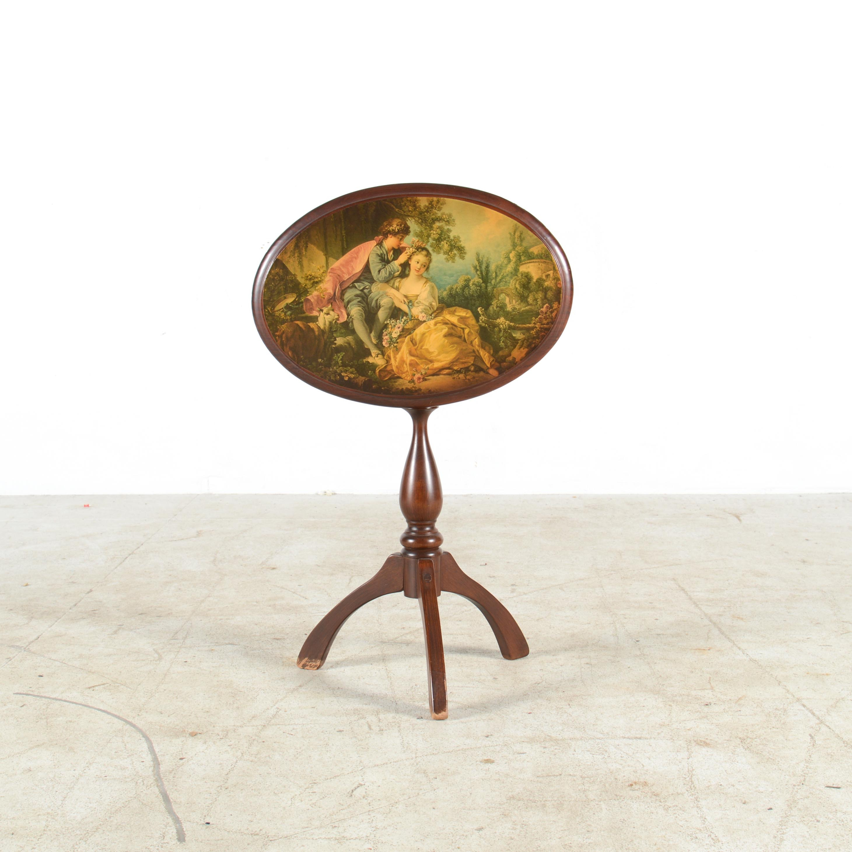 Tilt-Top Side Table with Chromolithograph Print on Top