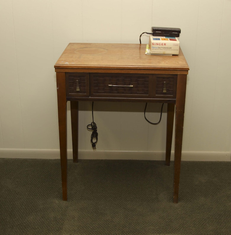 1875 Singer Sewing Machine With Oak Table EBTH