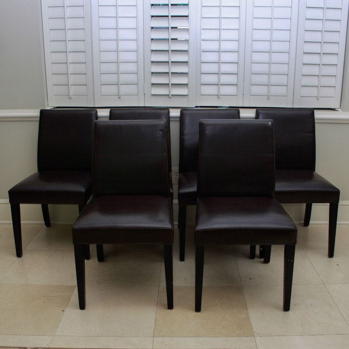 Attrayant Crate U0026 Barrel Brown Leather Pullman Dining Chairs ...