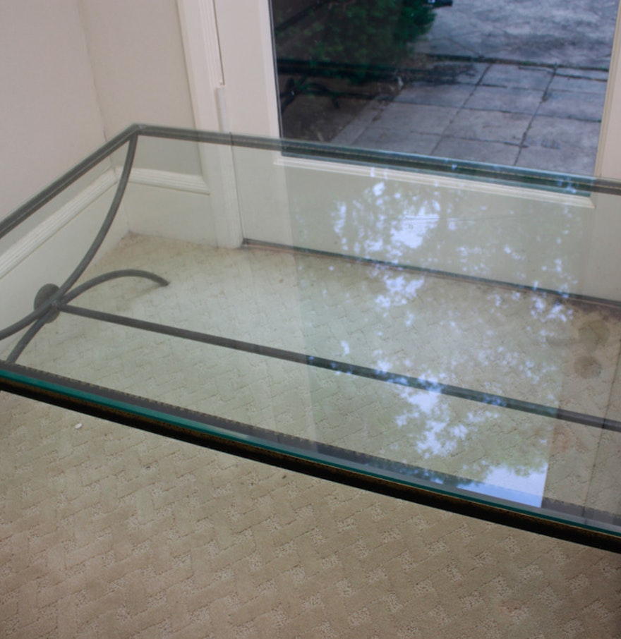 Contemporary glass top metal coffee table ebth for Contemporary glass top coffee table