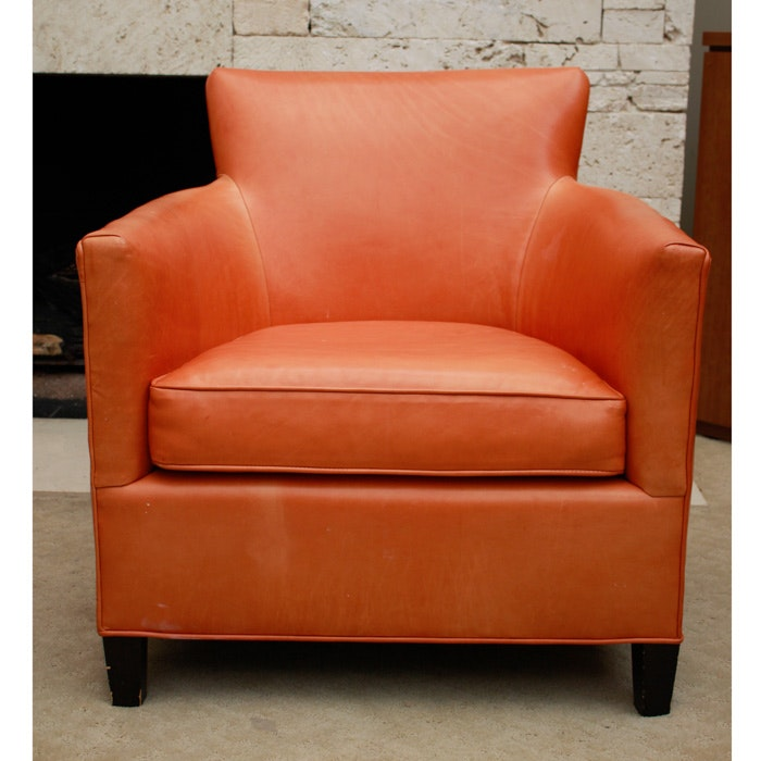 Crate U0026 Barrel Persimmon Leather Poet Chair ...
