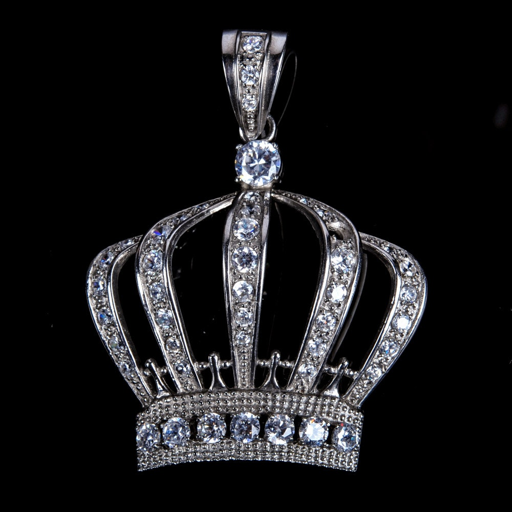 Stainless Steel Crown Pendant with Imitation Diamonds