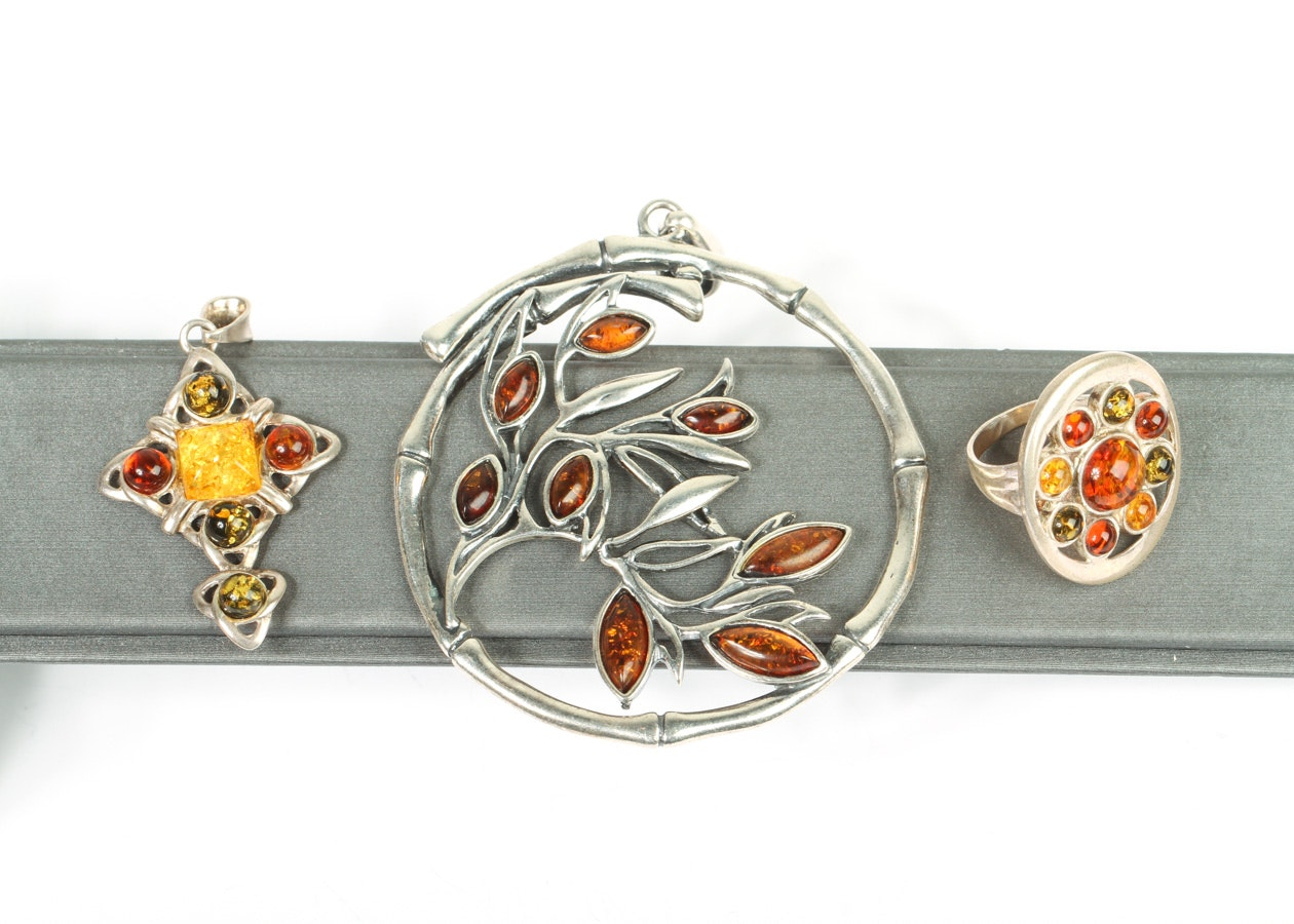 Sterling Silver and Amber Jewelry