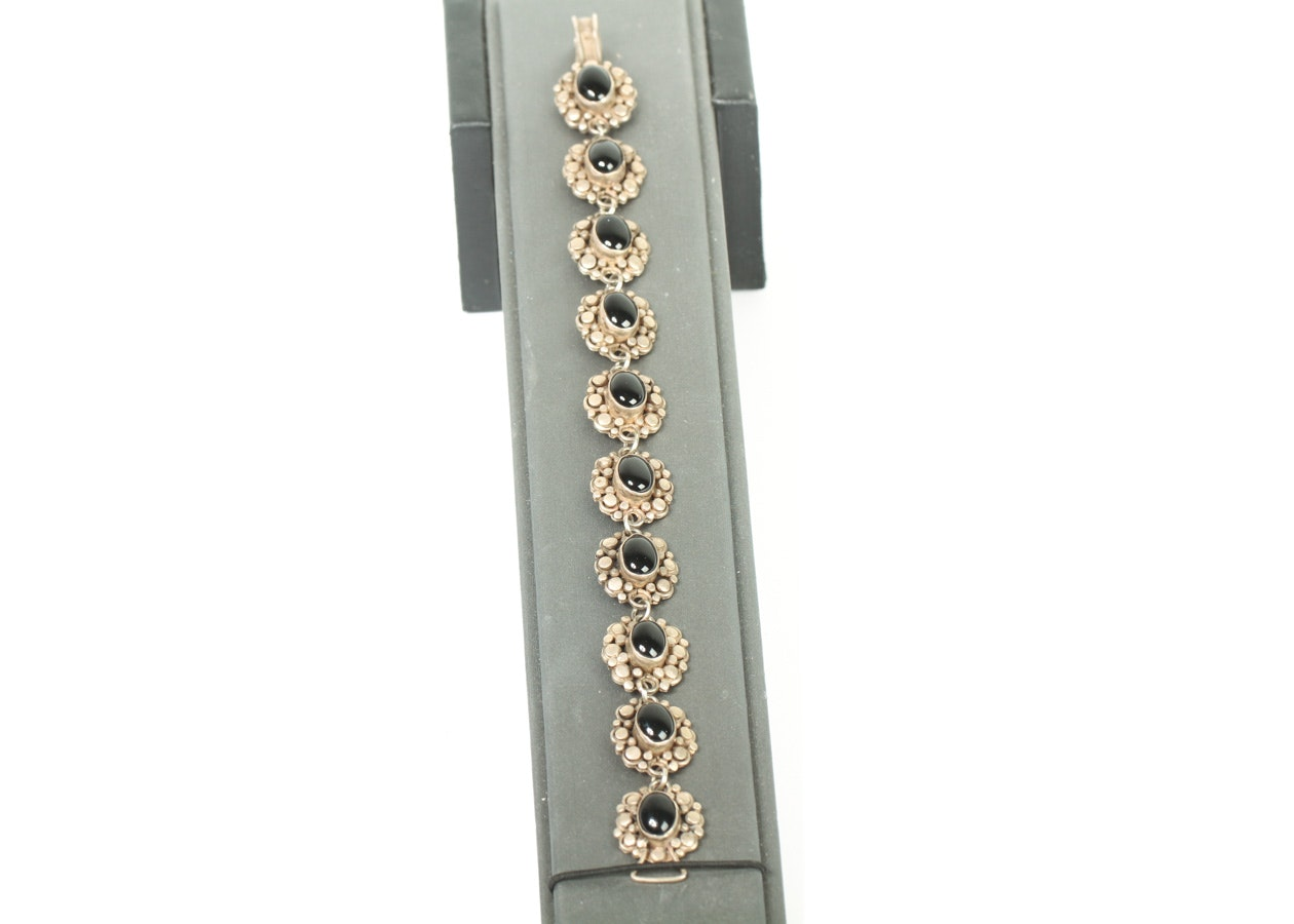 Sterling Silver Onyx Link Bracelet