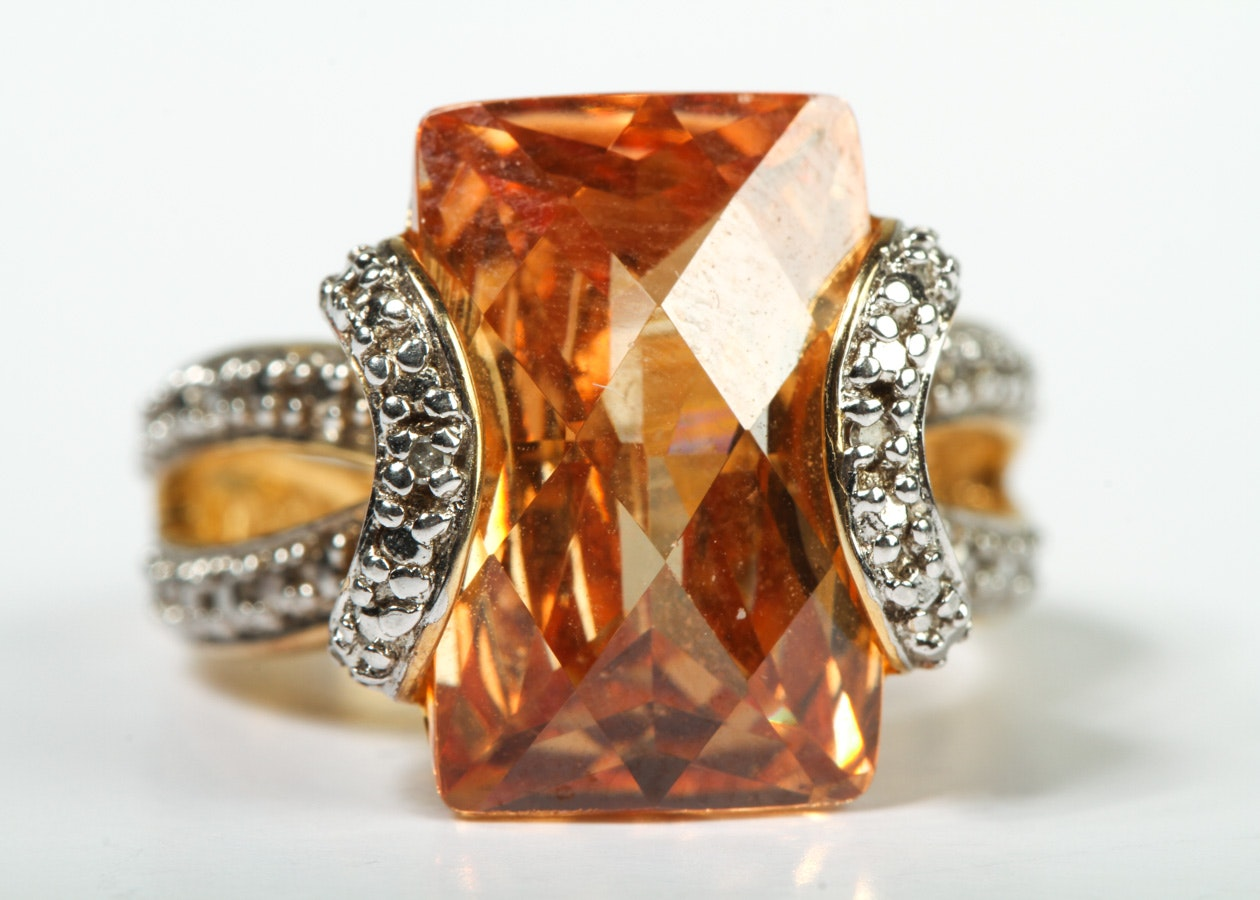 Sterling Silver Morganite Statement Ring