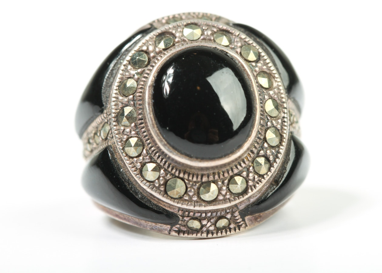 Sterling Silver, Onyx, and Marcasite Statement Ring