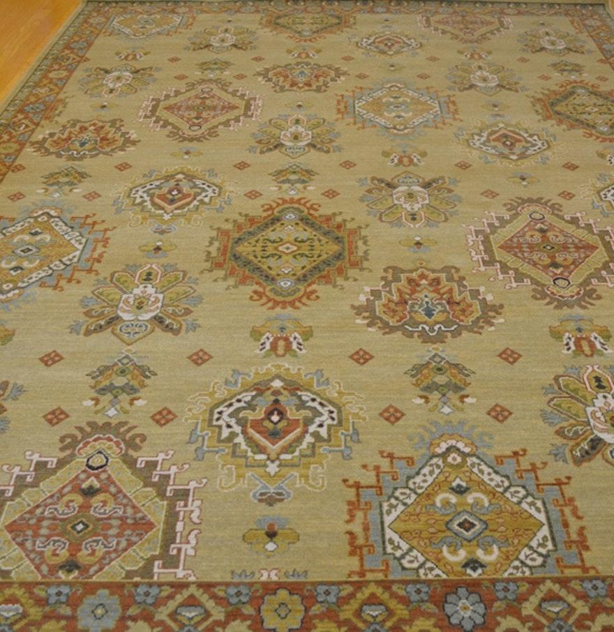 "Karastan Afghan Design ""Farragut"" Wheat Machine Woven Wool"