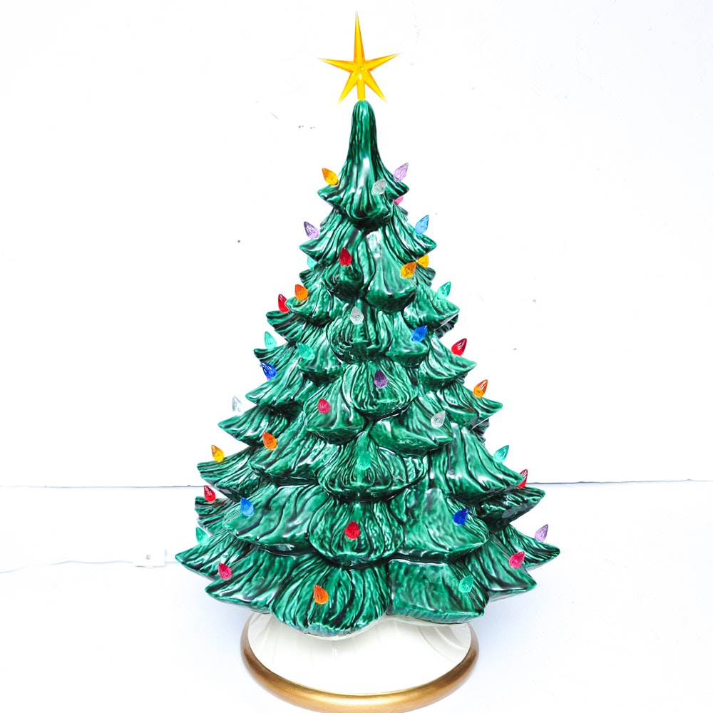 Vintage Ceramic Lighted Christmas Tree Ebth