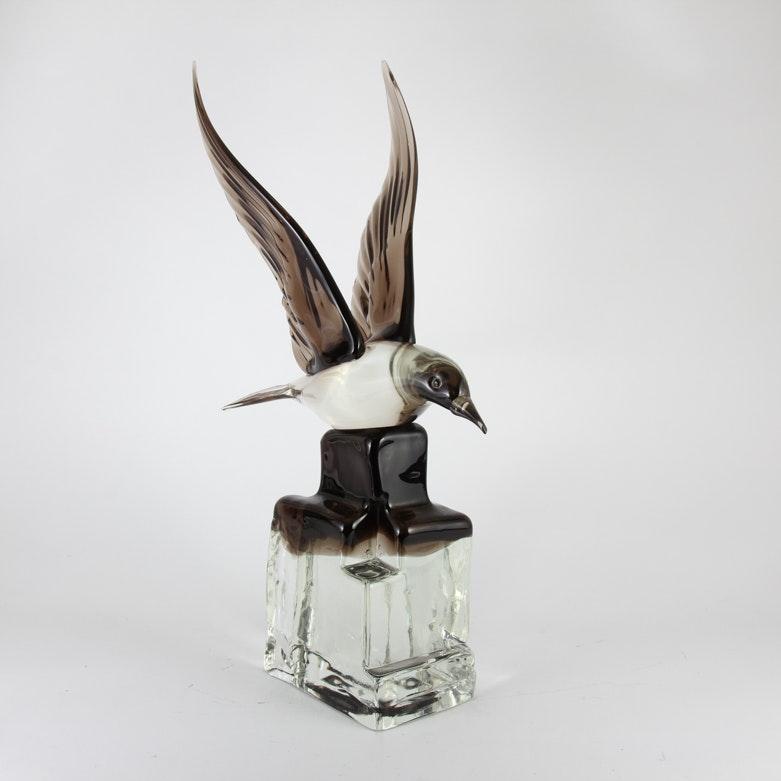 Hand Blown Art Glass Bird Statue