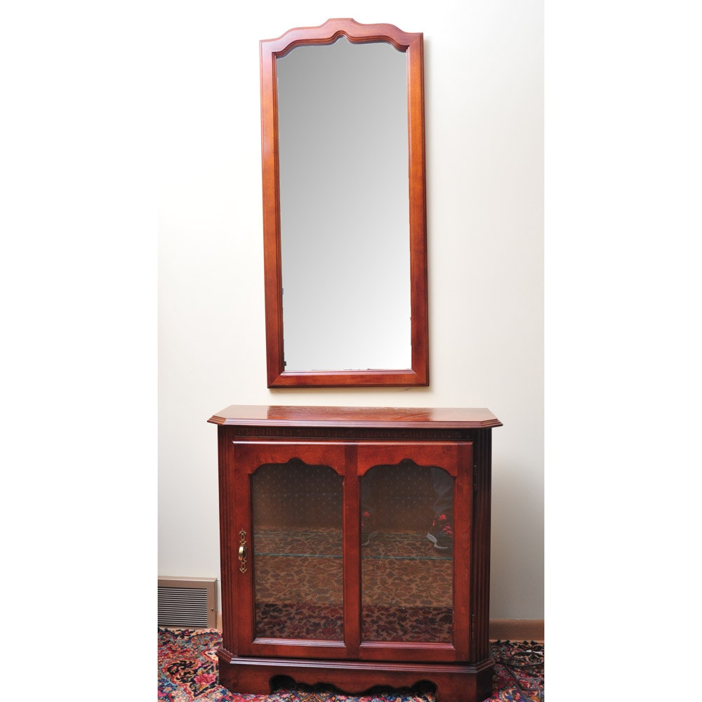 Lighted Cherry Curio Cabinet and Wall Mirror