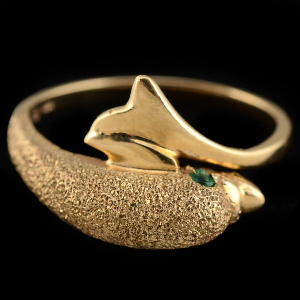 10K Yellow Gold Dolphin Bypass Ring with Emerald Eyes EBTH