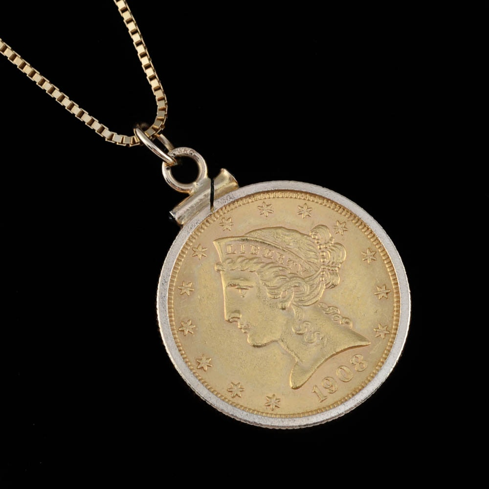 """14K Yellow Gold 22"""" Box Chain with 1908 Liberty Five Dollar Gold Coin in 14K Bezel Frame"""