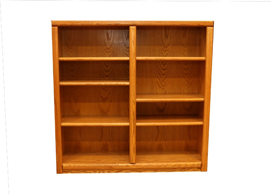 Tall Divided Oak Bookcase