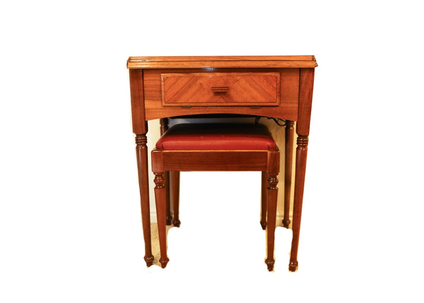 Sewing Machine with Oak Cabinet and Stool