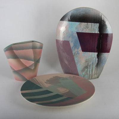 John Bergen Vases and Serving Plate