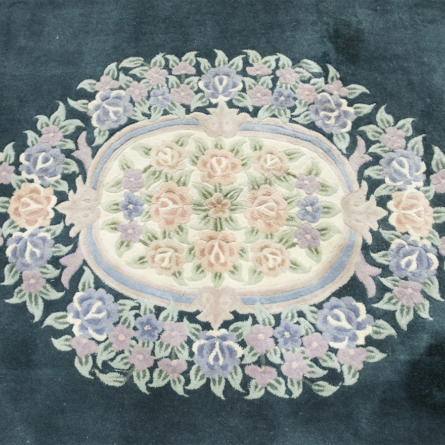 Large Aubusson Rug: Large Emerald Green Aubusson-Style Floral Area Rug