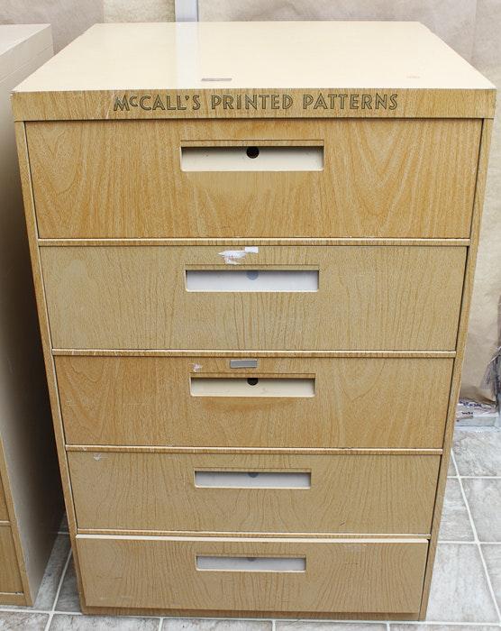 vintage mccall 39 s sewing pattern filing cabinets ebth. Black Bedroom Furniture Sets. Home Design Ideas