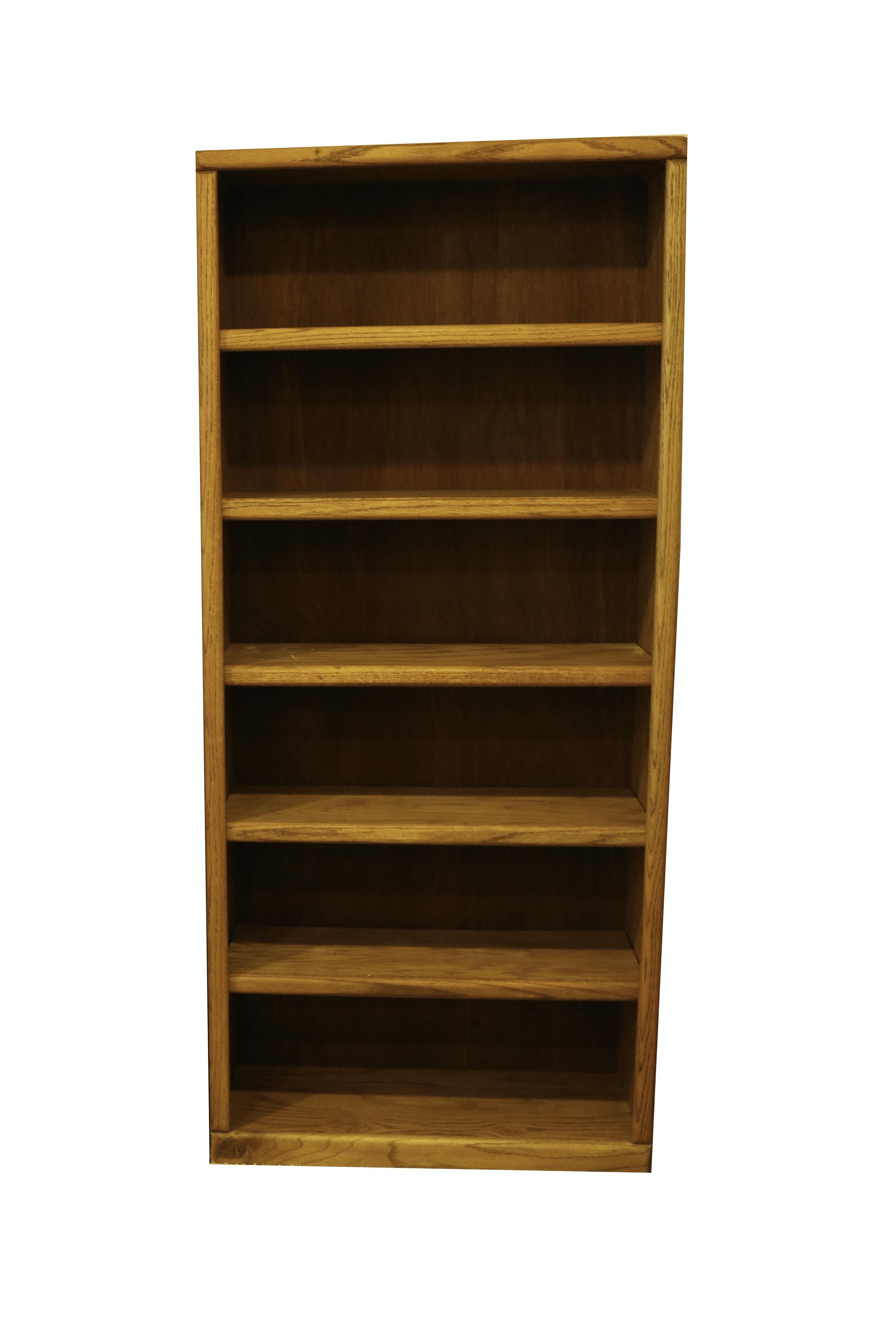 Oak Six-Shelf Bookcase