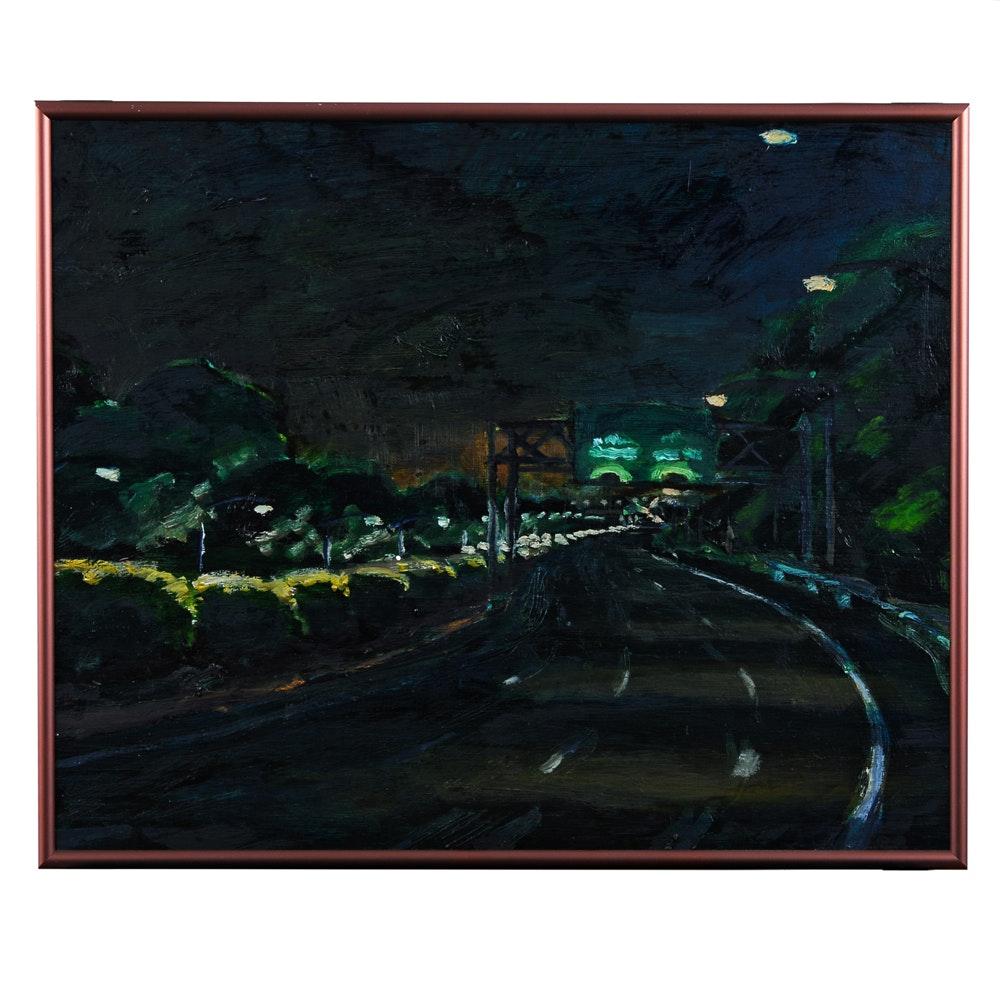 "Oil Painting Titled ""4 Lanes Wide"" by Benjamin Barnett"