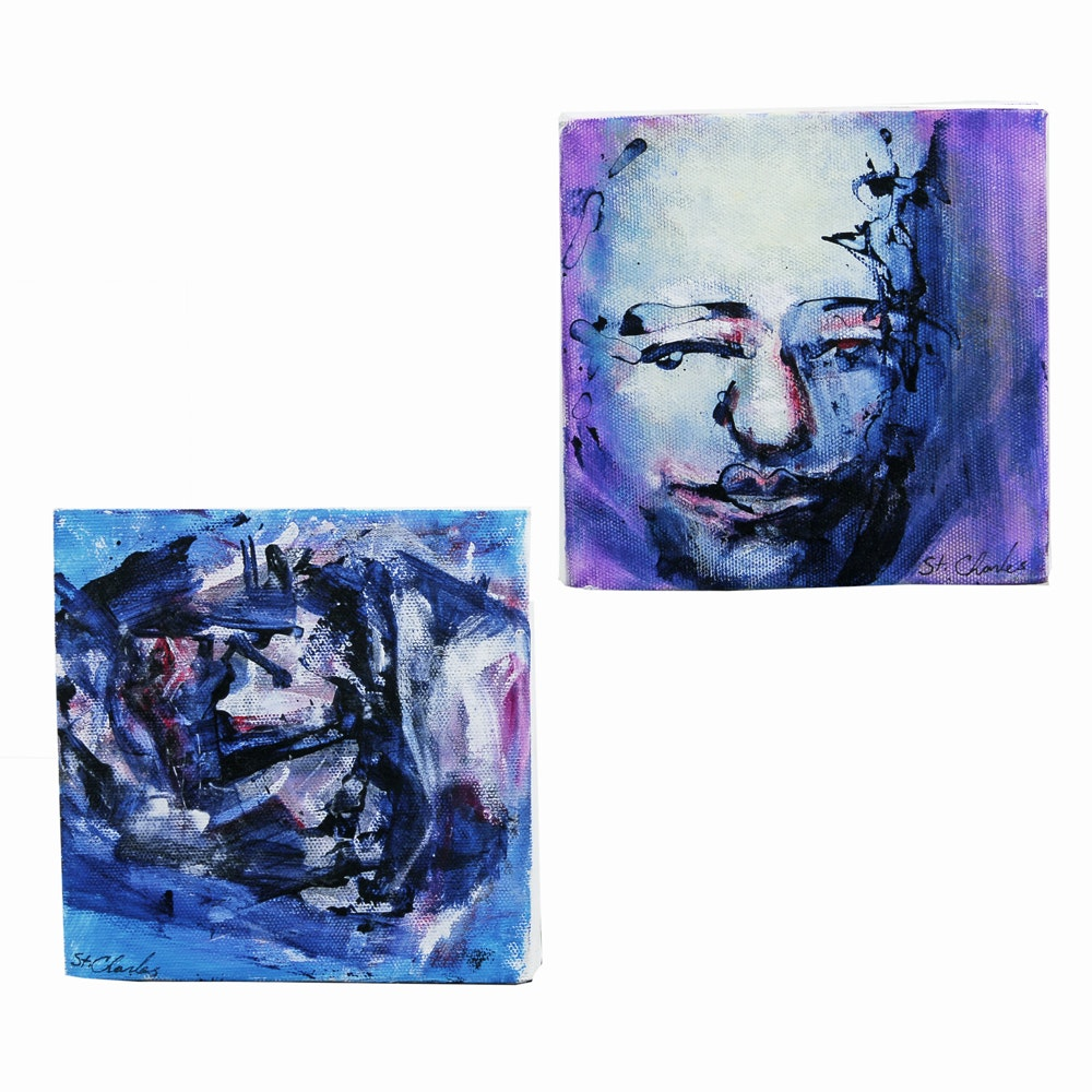 Pair of St. Charles Acrylic Paintings on Canvas