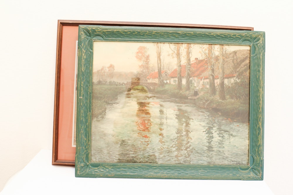 Vintage Dutch Port Scene Print