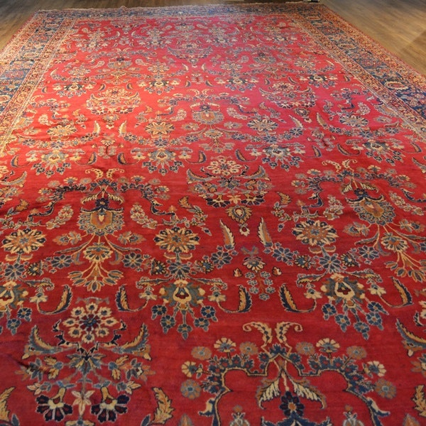 Very Large Circa 1920 Persian Kerman Hand Knotted Wool Area Rug, Formerly Owned