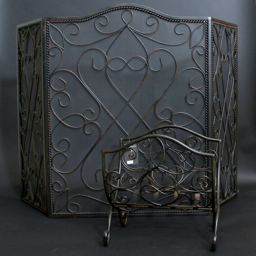 Southern Living Fireplace Screen and Log Holder from EBTH.com
