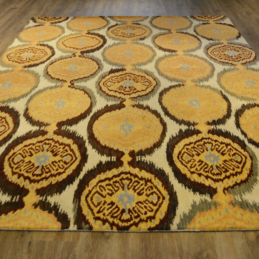 Persian Hand Woven Bakhtiari Style Wool Area Rug Ebth: Ikat Design Soft Gold Pomegranate Tufted Wool Area Rug
