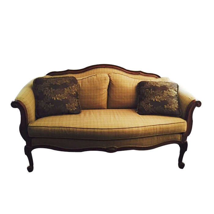 Camel Back Mahogany Couch