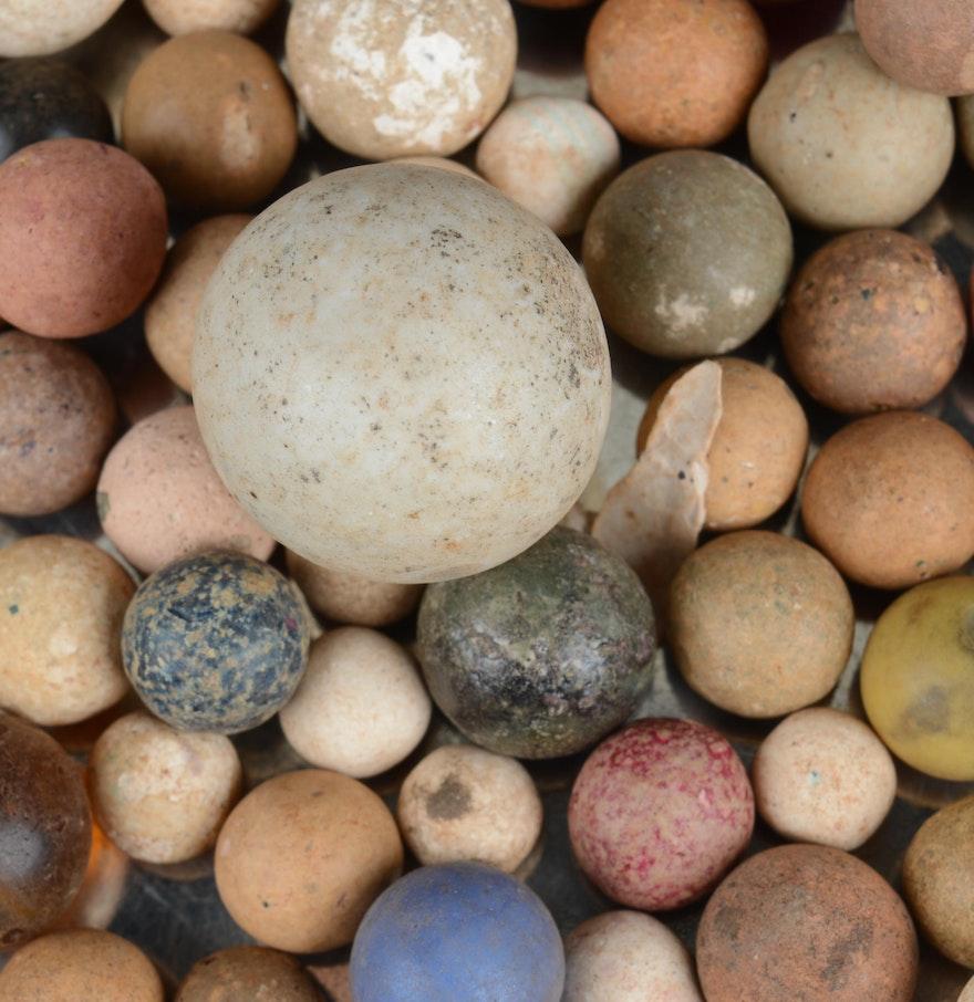 Antique Clay And Bennington Marbles Ebth